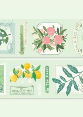 collage Washi Green Blooms