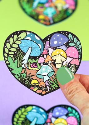 Turtle's Soup Vinyl  Sticker Forest Mushroom Heart