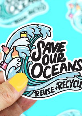 Turtle's Soup Vinyl  Sticker Save The Oceans