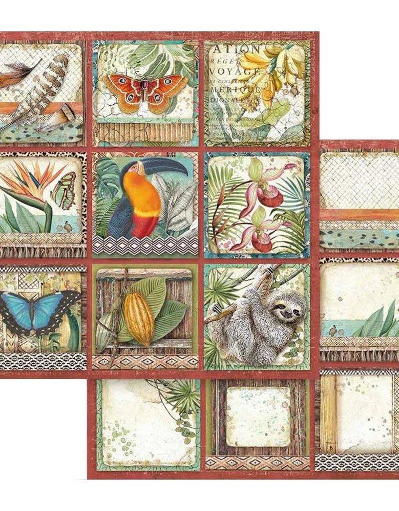 Stamperia 12 x 12 Decorative Paper Amazonia Square Tags