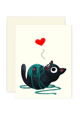 The Little Red House Card Black Cat