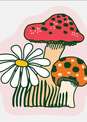 The Good Twin Sticker Daisy and Mushroom