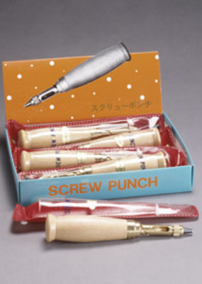 Aitoh Screw Punch Brass with Wooden Handle
