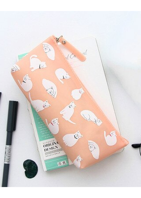 collage Pencil Case Peach With White Cats