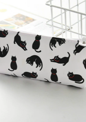 collage Pencil Case White With Black Cats