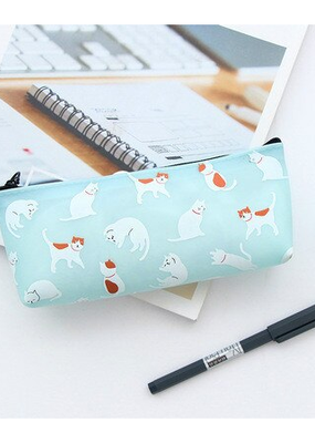 collage Pencil Case Grey Blue With White Cats
