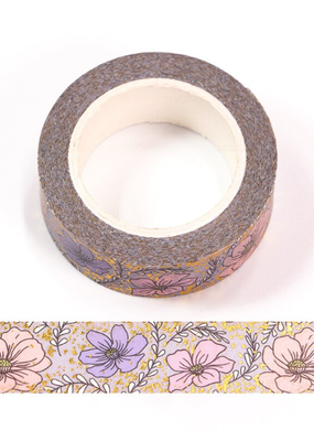 collage Washi Peonies Gold Foil
