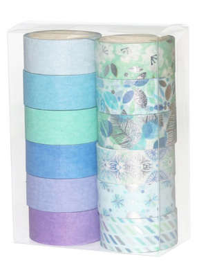 collage Washi Set Cool Colors and Patterns
