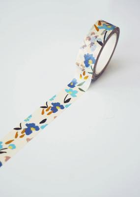 Ginably Washi Blue Floral Gold Foil