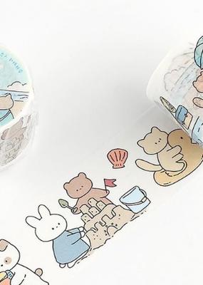collage Washi Cartoon Animals At The Beach