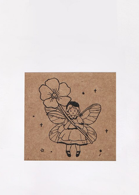 collage Stamp Fairy With a Flower