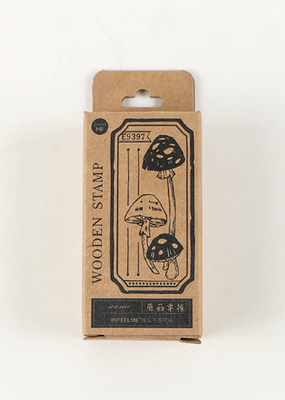 collage Stamp Label Mushroom Long