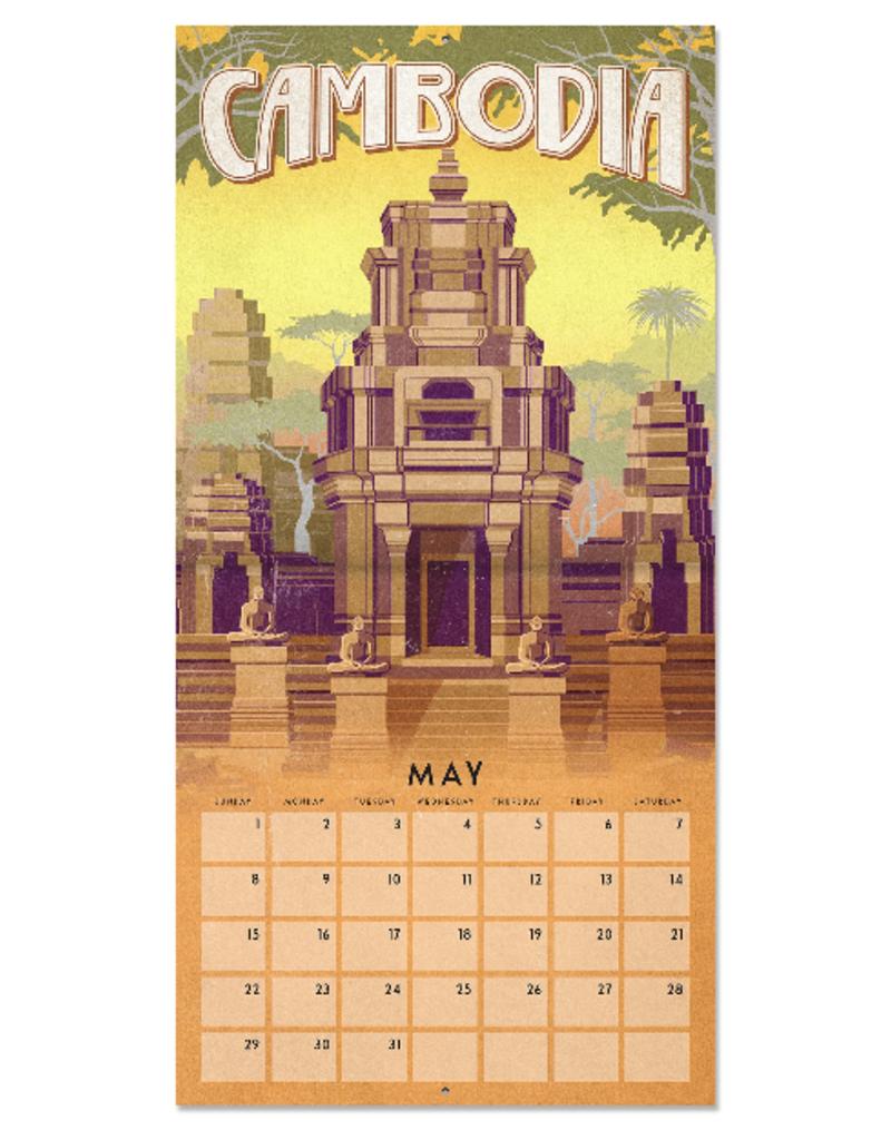 Studio Oh! 2022 Wall Calendar Flower World Travel: Retro Travel