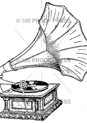 100 Proof Press Stamp Old Phonograph