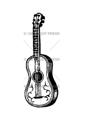 100 Proof Press Stamp Acoustic Guitar