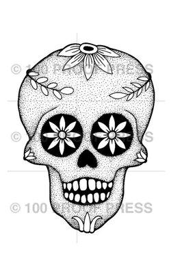 100 Proof Press Stamp Flower Eye Skull