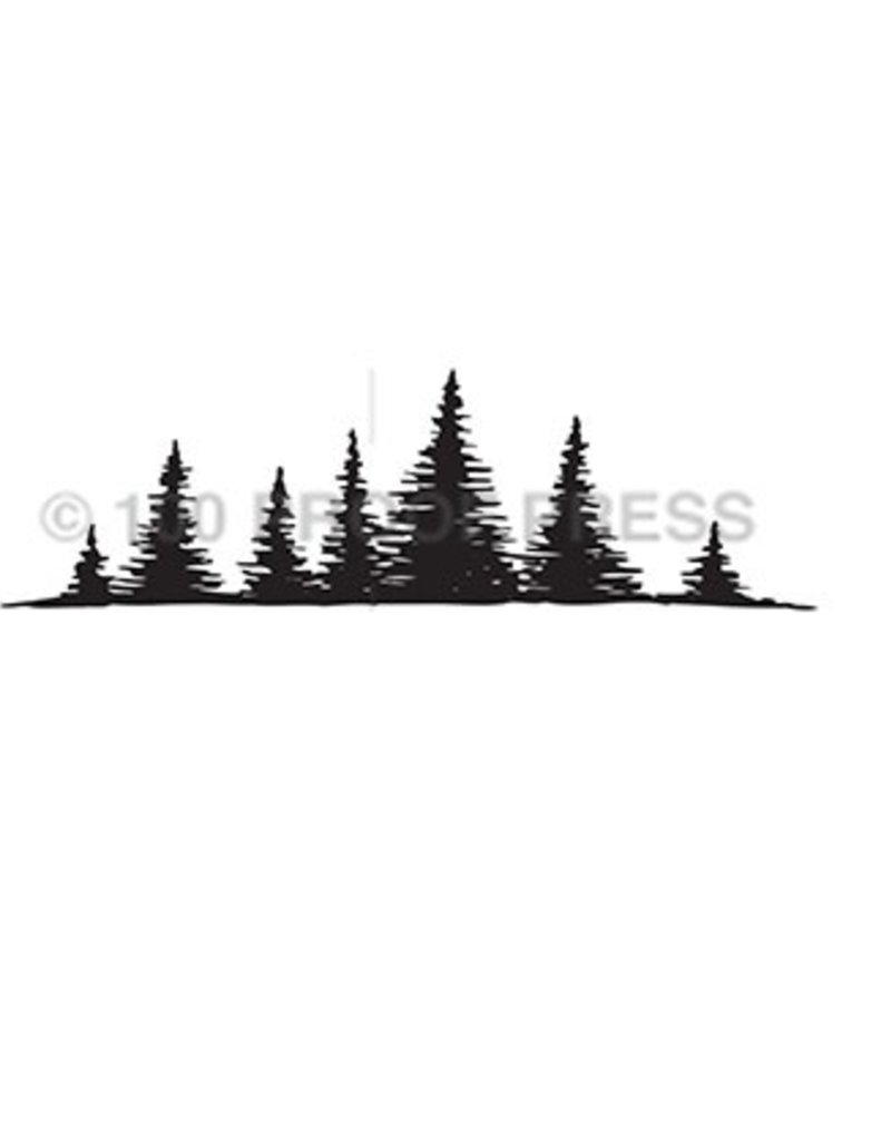 100 Proof Press Stamp Row of Fir Trees