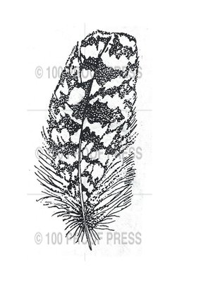 100 Proof Press Stamp Owl Feather