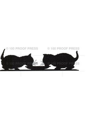100 Proof Press Stamp Cats Sharing Saucer