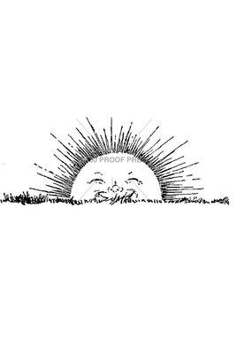 100 Proof Press Stamp Rising Sun Smiling