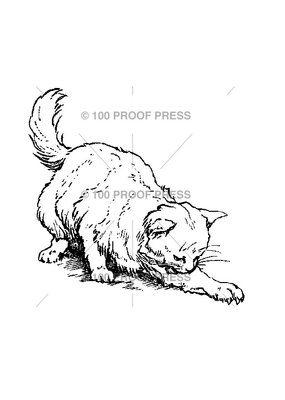 100 Proof Press Stamp Cat Clawing