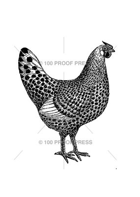 100 Proof Press Stamp The Hen