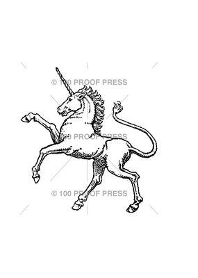 100 Proof Press Stamp Crest Unicorn