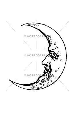 100 Proof Press Stamp Man in Moon