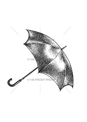 100 Proof Press Stamp Black Umbrella