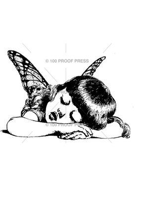 100 Proof Press Stamp Sleeping Fairy Girl