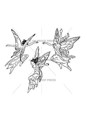 100 Proof Press Stamp Three Flying Fairies