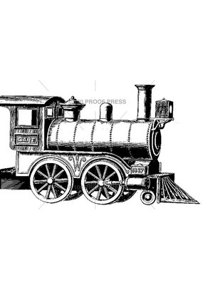 100 Proof Press Stamp Dart Steam Train Engine