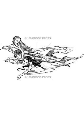 100 Proof Press Stamp Trio of Mermaids