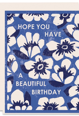 Heartell Press Card Blue Floral Beautiful