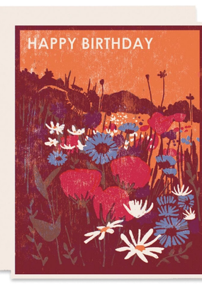 Heartell Press Card Wildflowers Happy Birthday