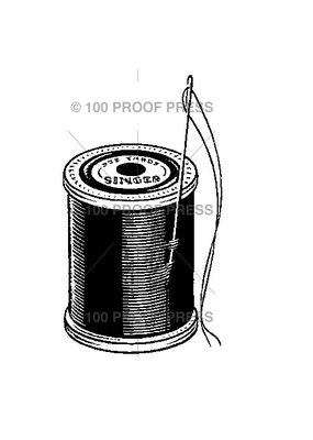 100 Proof Press Stamp Needle and Spool of Thread