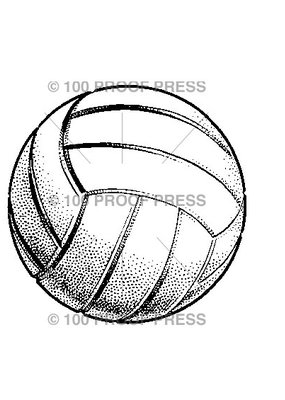 100 Proof Press Stamp Volleyball