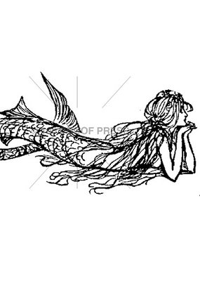100 Proof Press Stamp Daydreaming Mermaid