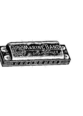 100 Proof Press Stamp Marine Band Harmonica
