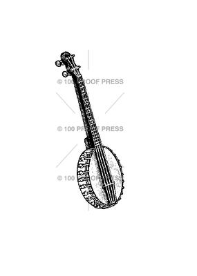 100 Proof Press Stamp Banjo