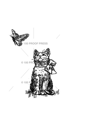 100 Proof Press Stamp Kitty and Butterfly