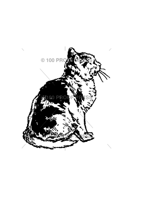 100 Proof Press Stamp Sitting Cat Facing Right