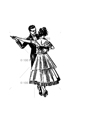 100 Proof Press Stamp Dancing Couple