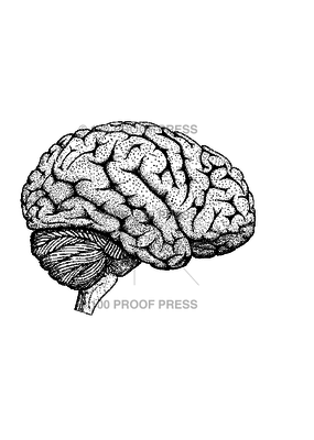 100 Proof Press Stamp Brain Side View