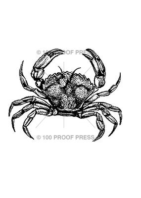 100 Proof Press Stamp Sea Crab