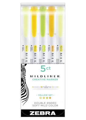 Zebra Zebra Mildliner 5 Color Set Yellow