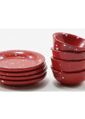 Handley House Miniature Red Enamelware Dishes