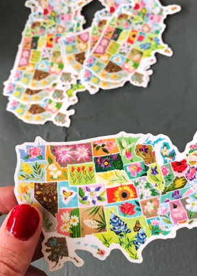 Katie Daisy Sticker US State Flowers