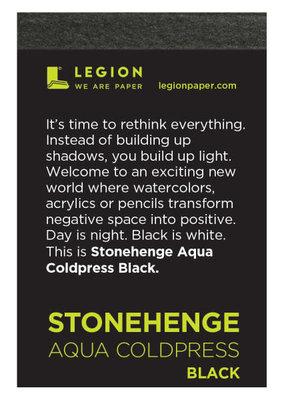 Legion Paper Mini Paper Pad Stonehenge Aqua Coldpress Black