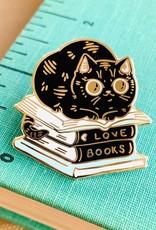 Paper Puffin Enamel Pin Book Stack Cat